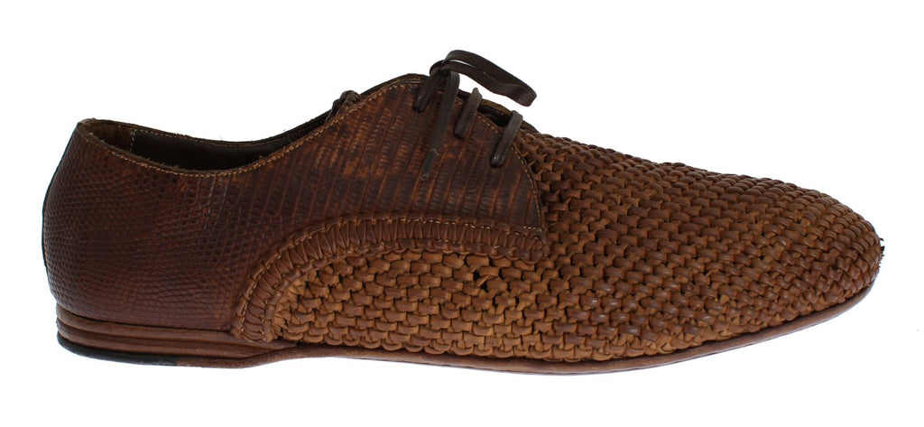 Brown Lizard Skin Woven Leather Shoes