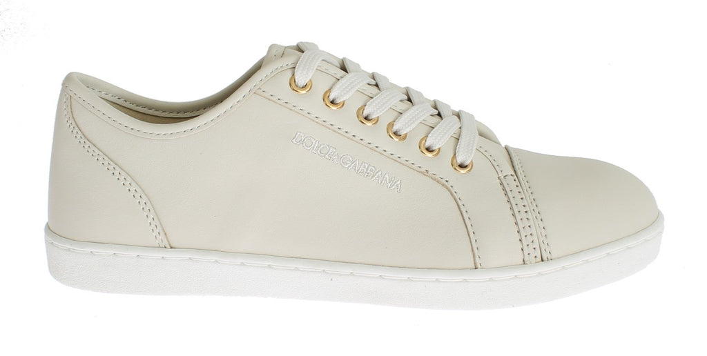 Ivory White Leather Junior Girls Shoes
