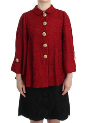 Red Woven Silk Jacket Coat A-Line Crystal