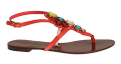 Orange Leather Crystal Sandal Shoe