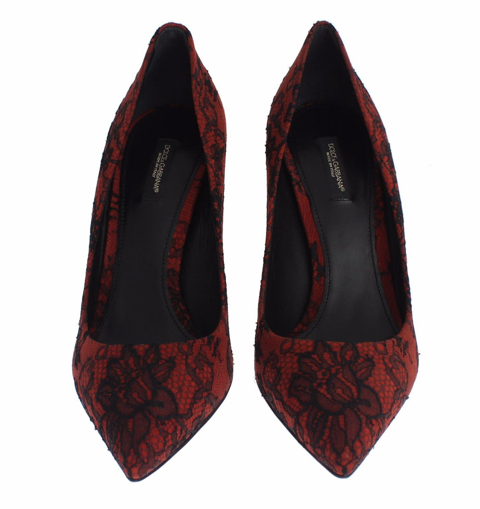 Red Suede Black Lace Pointy Pumps Shoes
