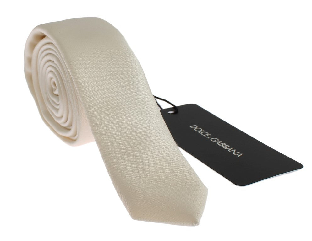 White Solid Silk Skinny Slim Tie