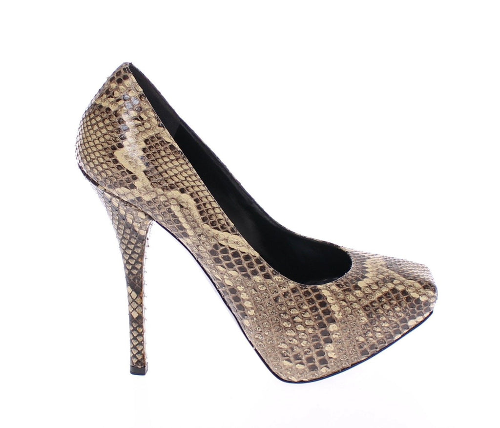 Beige Snakeskin Leather Platform Pumps Shoes