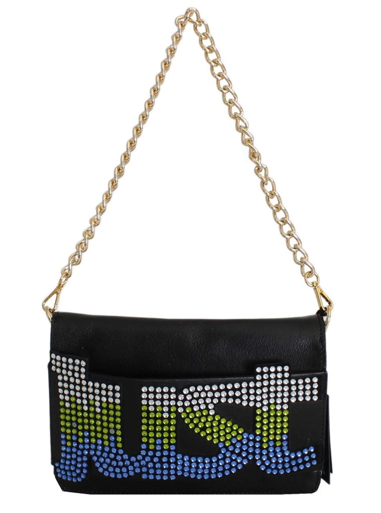 Black Leather Strass Evening Hand Clutch Bag
