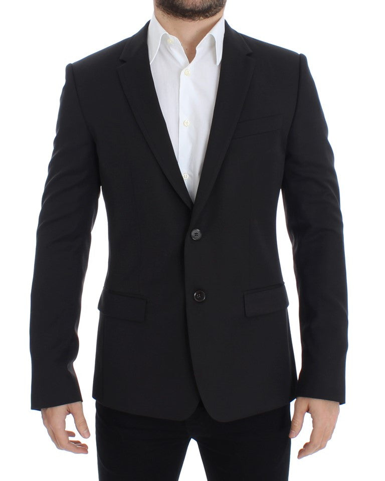 Brown wool slim fit blazer