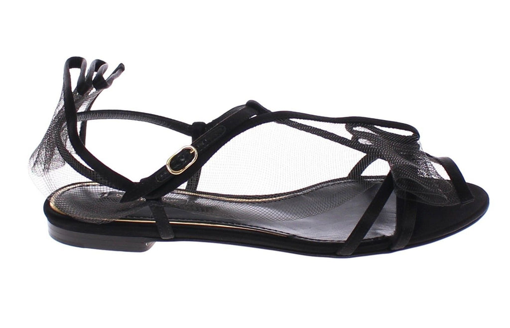 Black Nets Strap Flat Sandals Shoes Scarpe