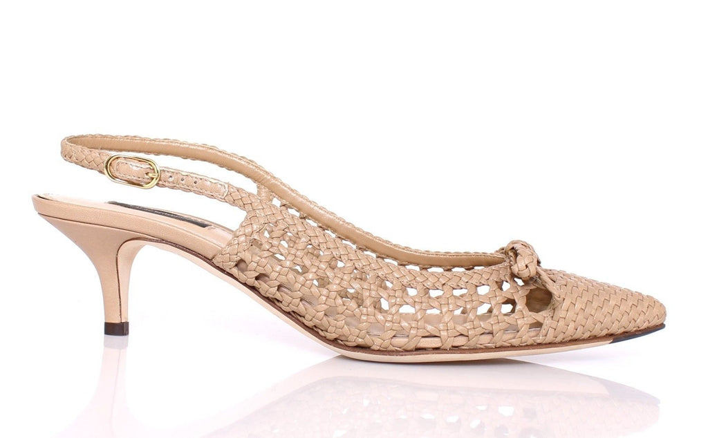 Beige Woven Leather Slingbacks Pumps Shoes