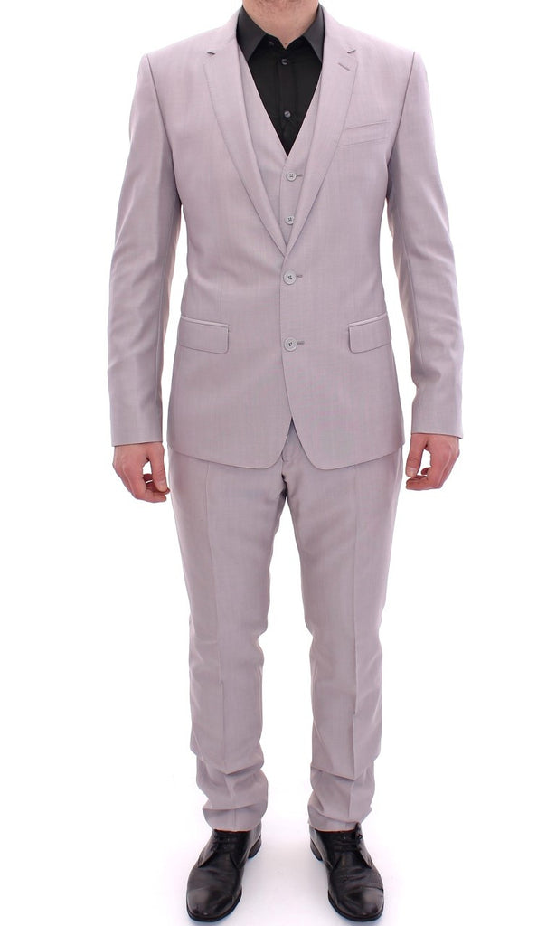 Silver Three Piece Wool Silk MARTINI Suit