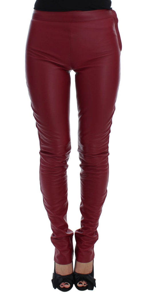 Red Leather Stretch Slim Fit Pants
