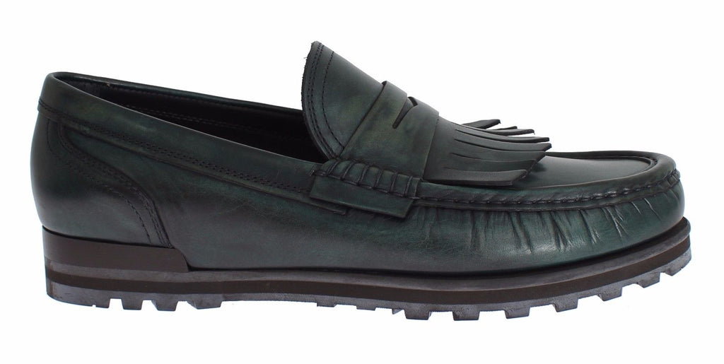 Green Leather Loafers Casual Dress Shoes