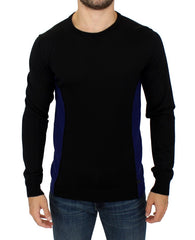 Black crewneck wool sweater