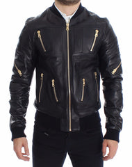 Blue Lambskin Leather Bomber Jacket
