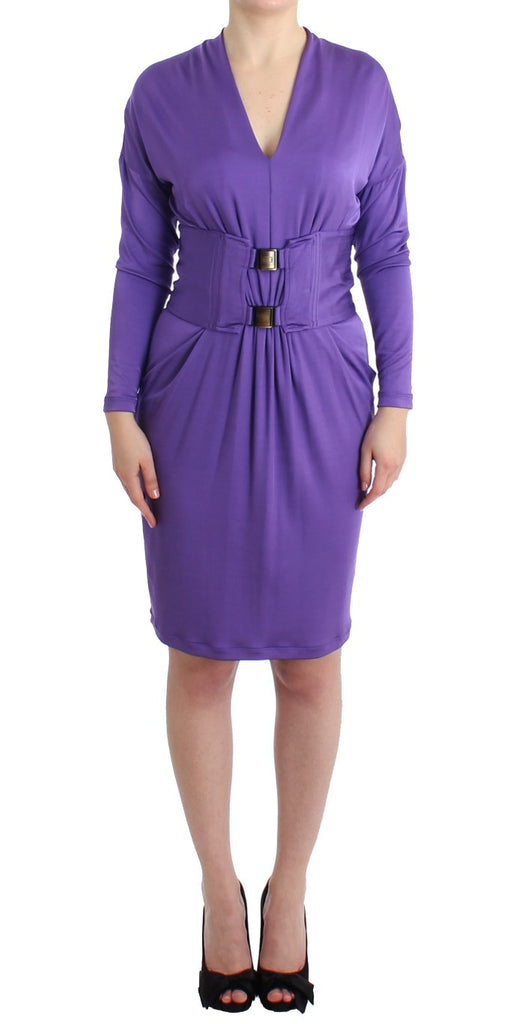 Purple longsleeved belted dress