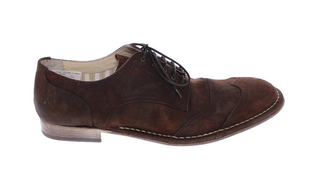 Brown Leather Laceup Wingtip Shoes