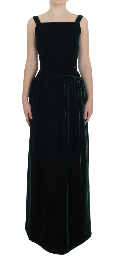 Dark Green Velvet Full Length Gown Dress