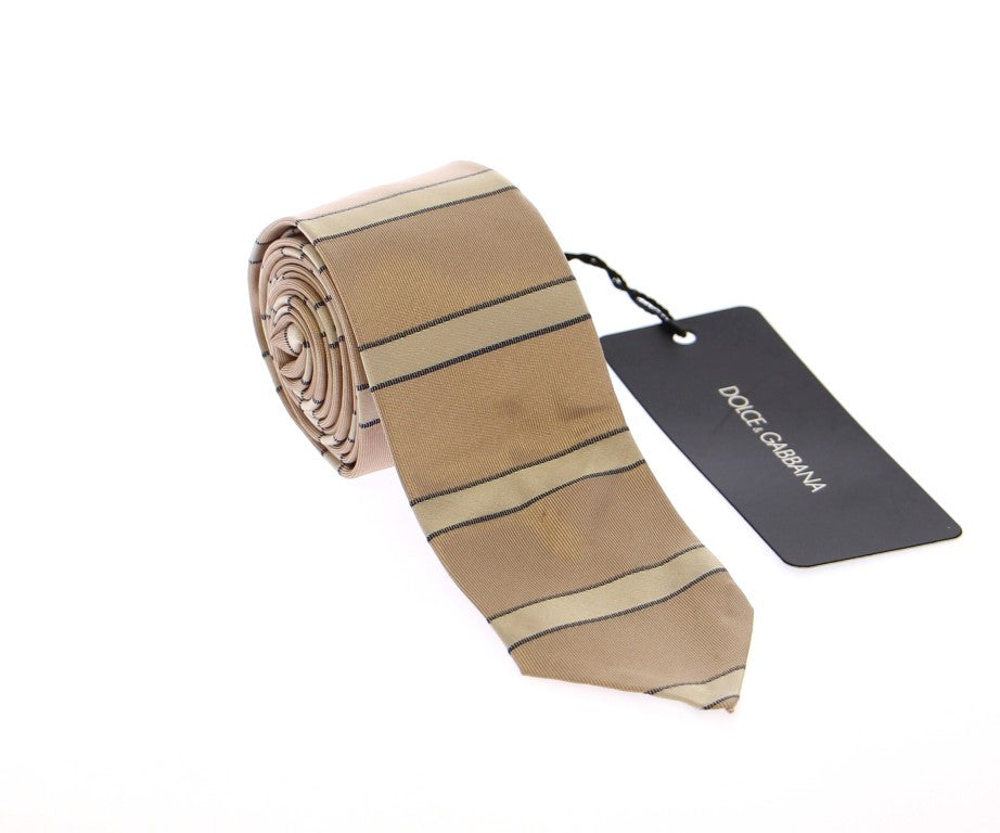 Beige Silk Pattern Slim Neck Tie