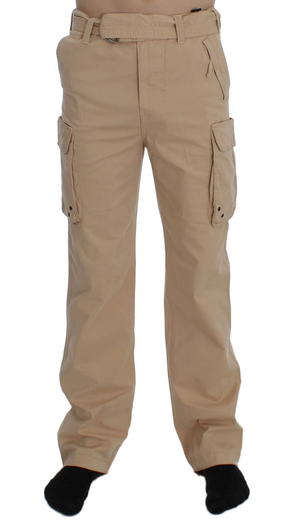 Beige Stretch Cargo Pants