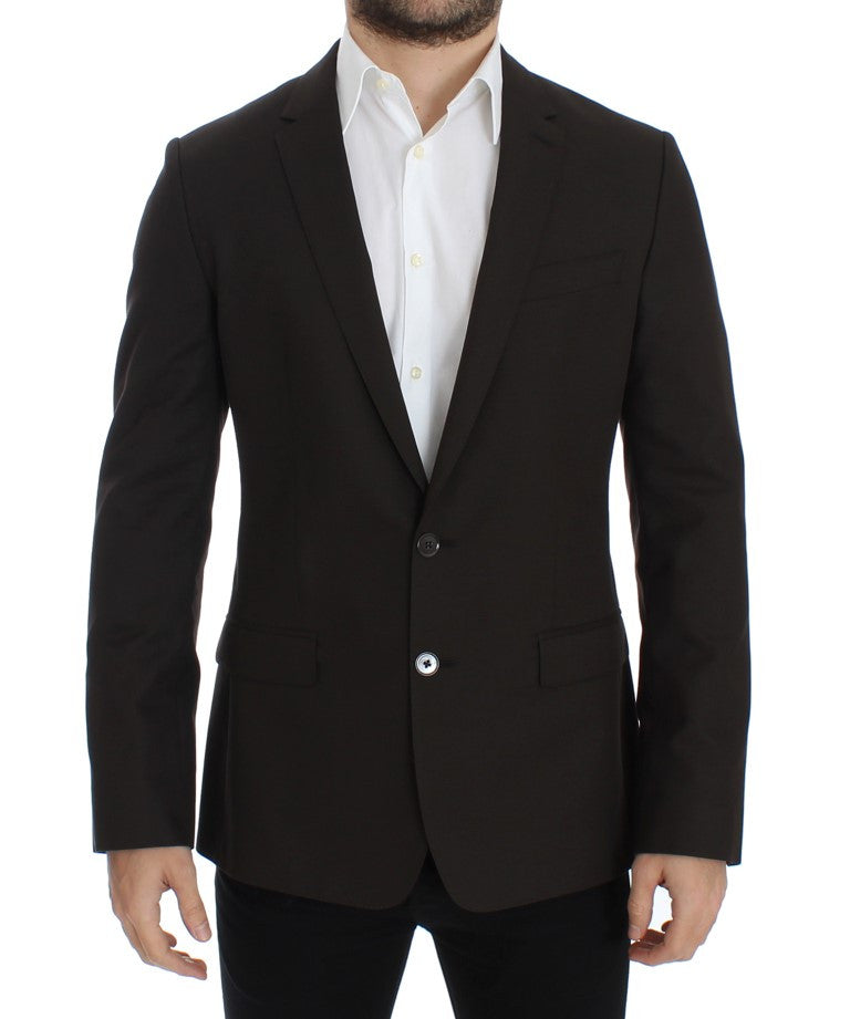 Brown wool MARTINI slim fit blazer