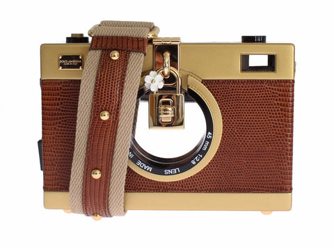 Camera Case Brown Leather Gold Shoulder Bag Clutch
