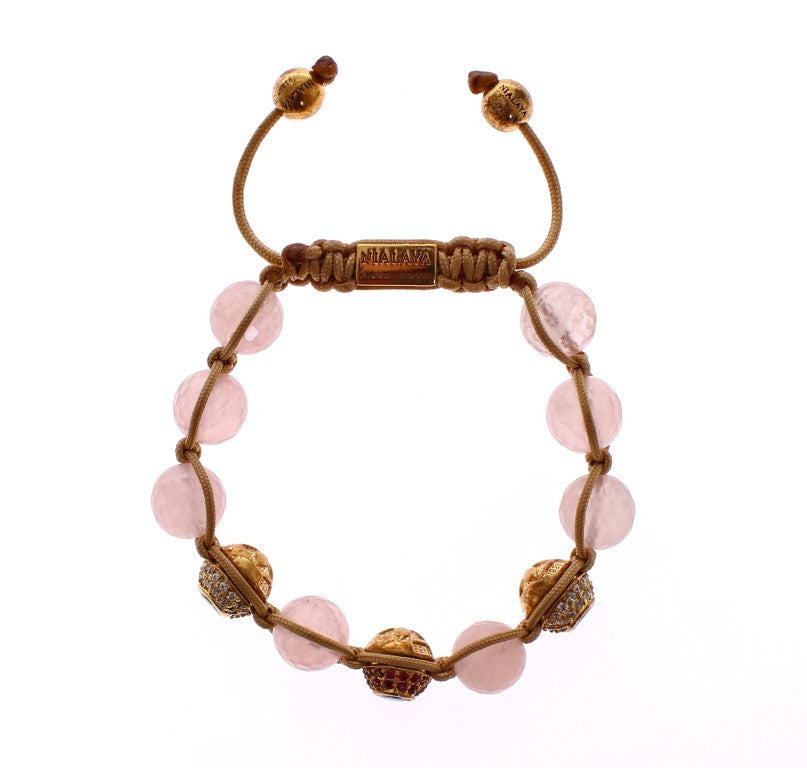 Rose Quartz Red CZ 18K Gold 925 Silver Bracelet