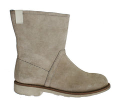 Beige Leather Mid Calf Boots