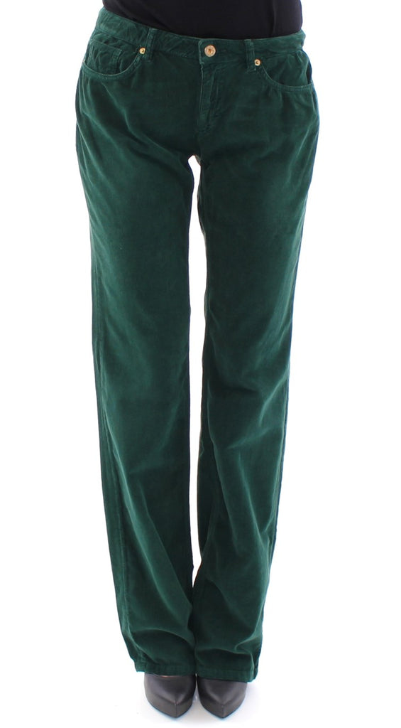 Green Cotton Corduroys Regular Fit Jeans