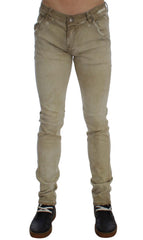 Beige Cotton Stretch Slim Fit Jeans