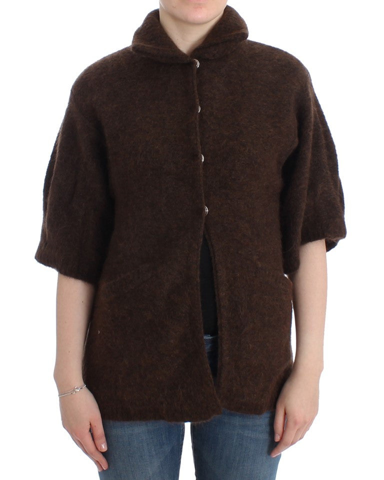Brown mohair knitted cardigan