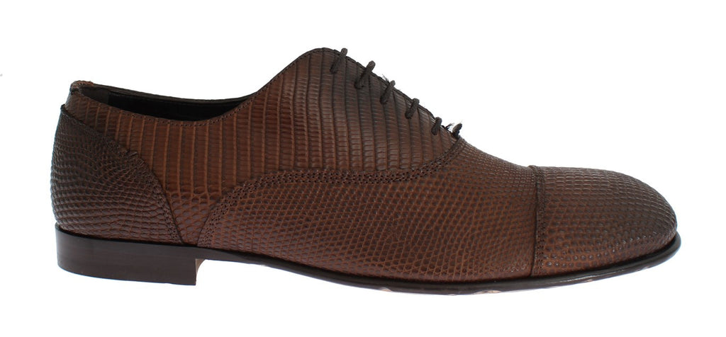 Brown Lizard Derby Formal Dress Mens Shoes