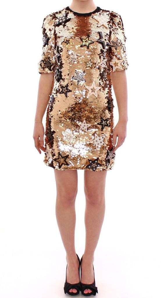 Masterpiece gold sequined crystal swarovski dress