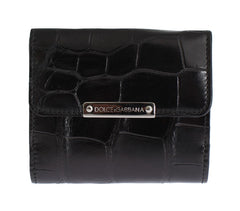 Black Alligator Skin Leather Bifold Wallet