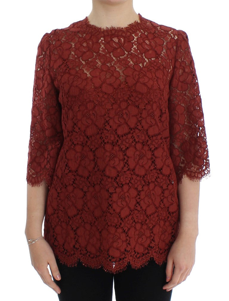 Red 3/4 sleeve floral lace blouse