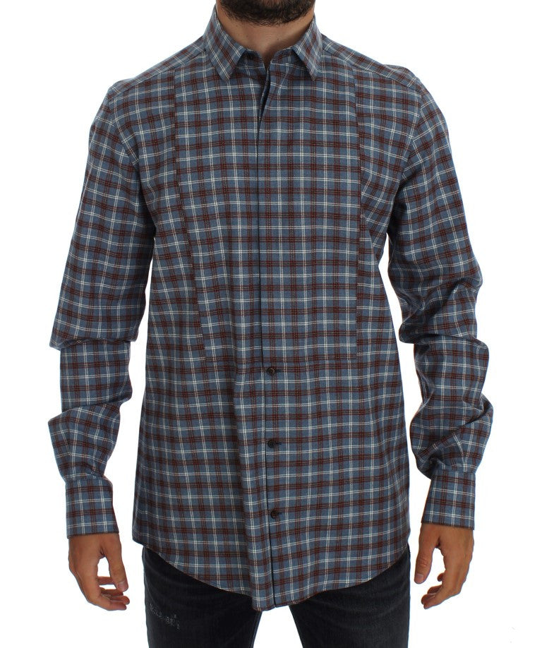 Blue Brown Checkered Slim Fit GOLD Shirt