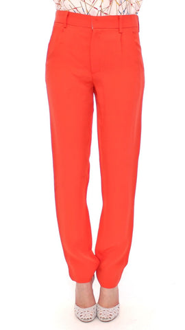 Orange boyfriend stretch pants