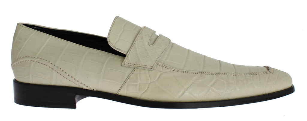 White Crocodile Skin Loafers Dress Shoes