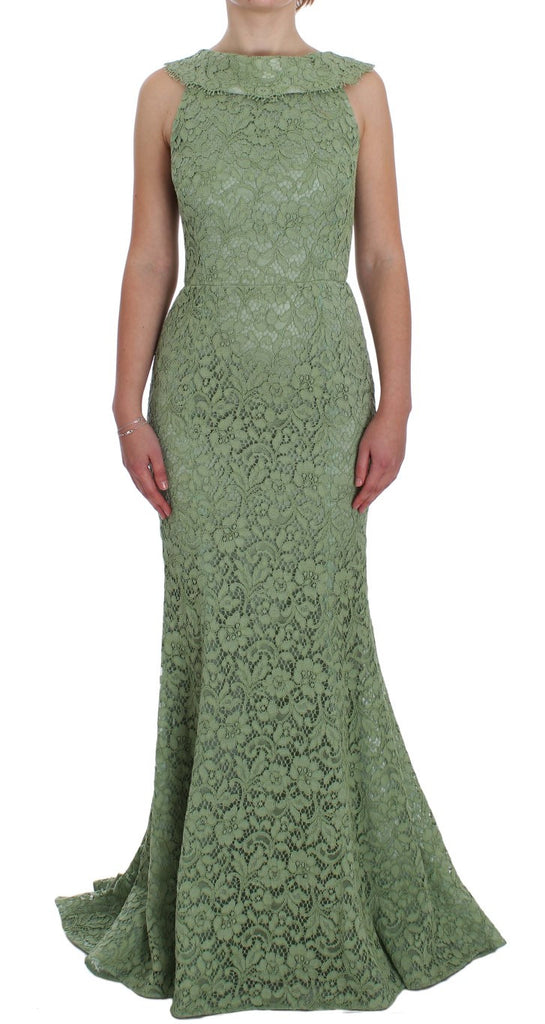 Green Floral Lace Sheath Maxi Dress