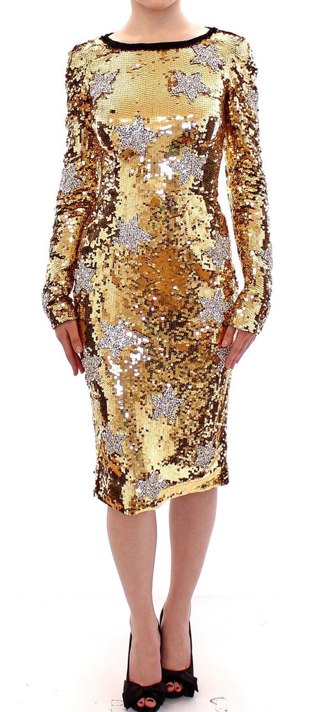Masterpiece gold sequined clear crystal swarovski stars dress