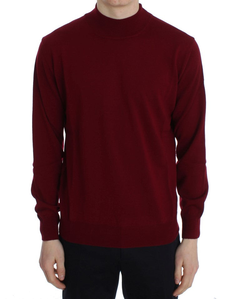 Red Wool Turtleneck Pullover Sweater