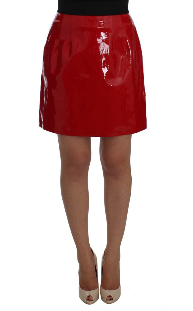 Red Patent Leather Mini A-Line Skirt