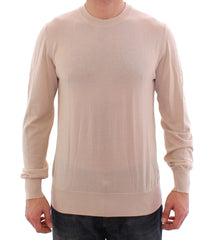 Beige Cashmere Crew-neck Sweater Pullover Top