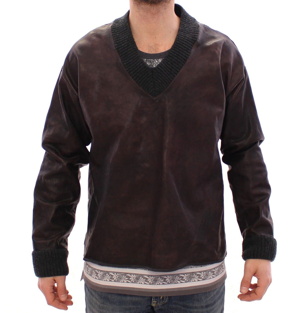 Brown Leather V-neck Pullover Sweater