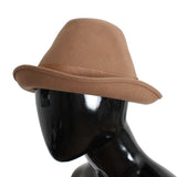 Brown Rabbit Fur Felt Trilby Brim Hat