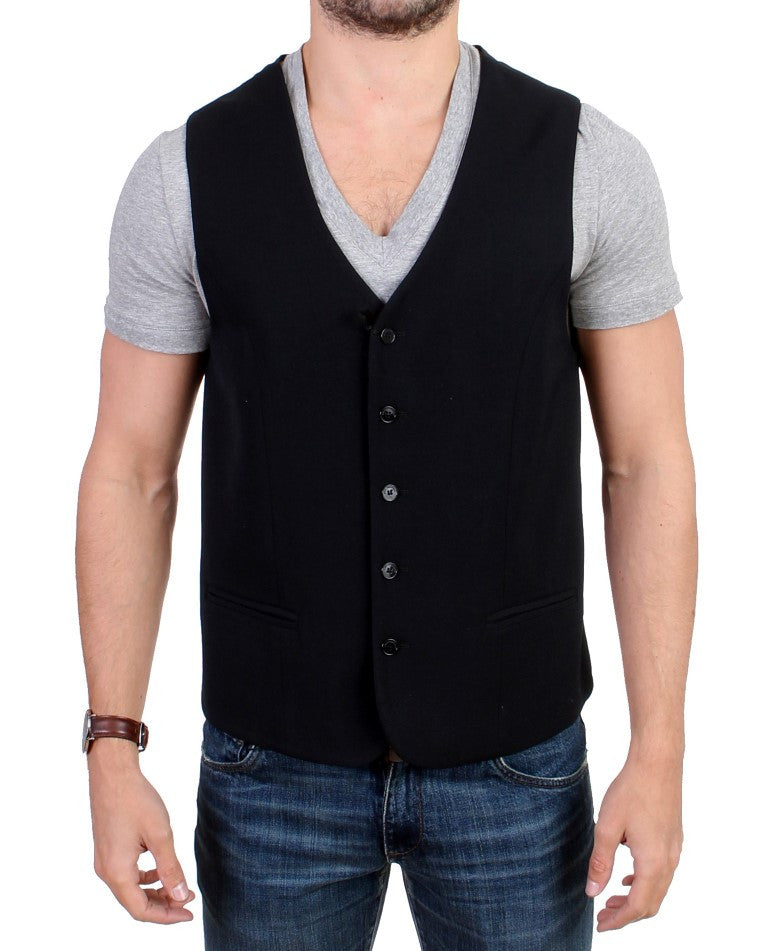 Black wool blend casual vest