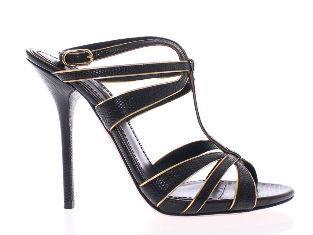 Black Leather Ankle Strap Sandals Shoes