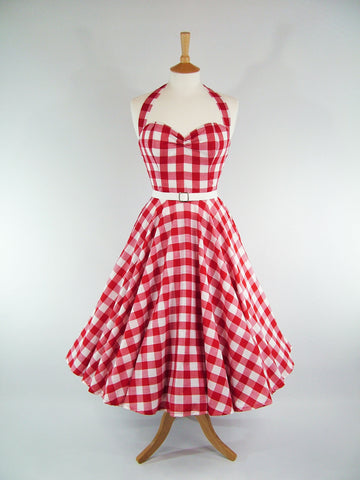 Red & White Gingham Full Circle Dress