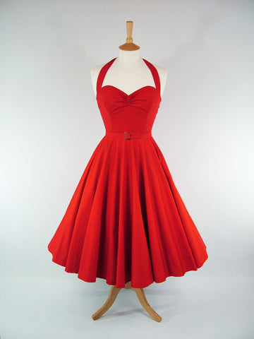 Red Cotton Full Circle Dress