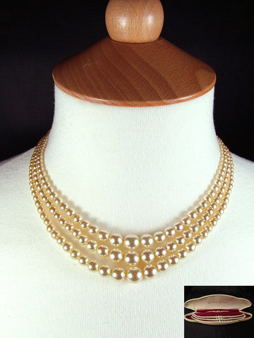 "15"" Vintage Re-Strung Boxed 3 Strand Faux Pearls"