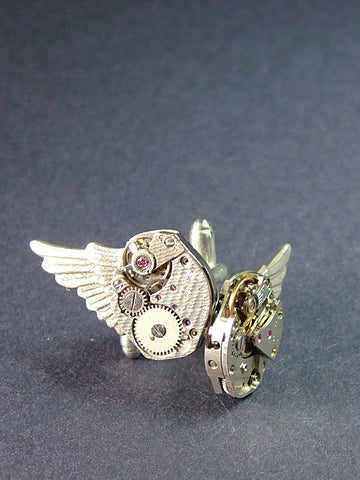 For Him - Cufflinks Wings & Antique Watch Movements