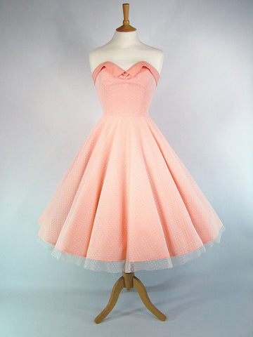 Peach Cotton & Polka Dot Lace Full Circle Dress