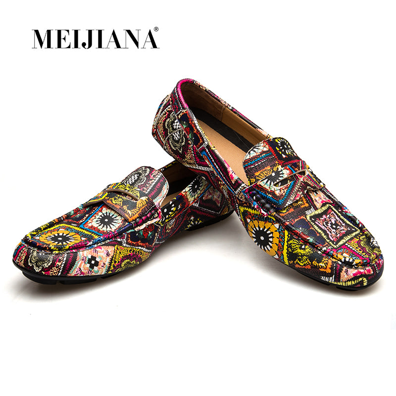 060aff78646 MEIJIANA Brand Leather Men Flats 2018 New Men Casual Shoes High Quality  Loafers Driving Shoes Colorful